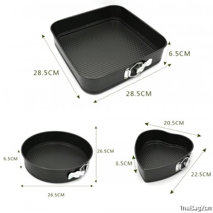 (BIG) 3 in 1 Set Different Shape Non-Stick Round Heart Square Shape Cake Mould Baking Pastry Dessert W3-8021