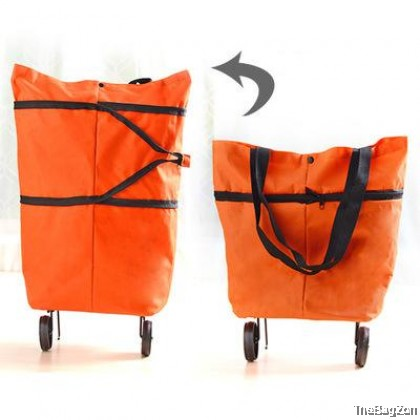 LARGE Foldable Casual Shopping Groceries Market Bag With Wheel D6-630