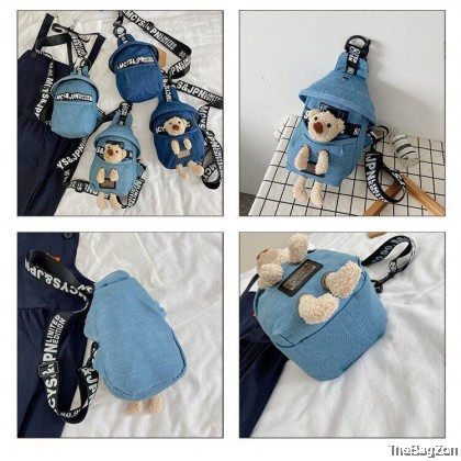 Cute Bear Denim Waist Sling Bag G4-678