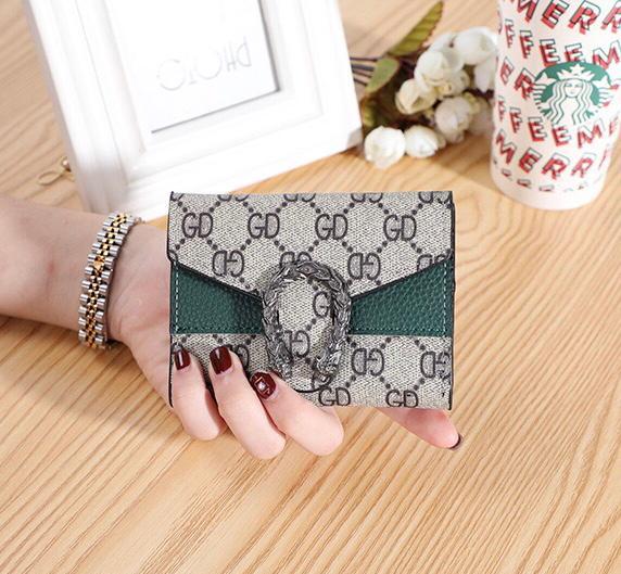 Short Contrast Buckle Trendy Multi-card Folding Purse Wallet C7-666